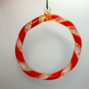 Glass round wreath candy cane ornament vintage